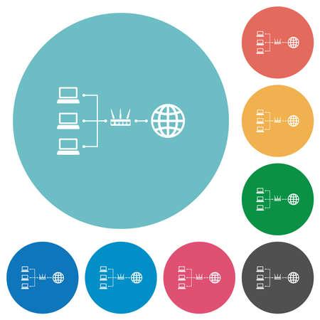 Network address translation flat white icons on round color backgrounds