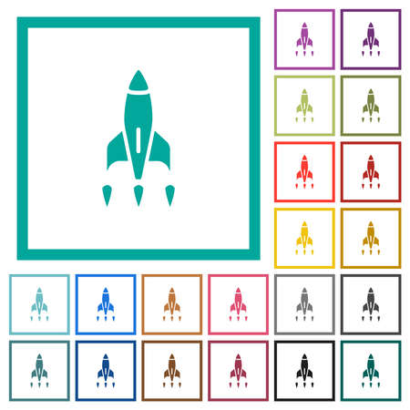 Rocket flat color icons with quadrant frames on white background
