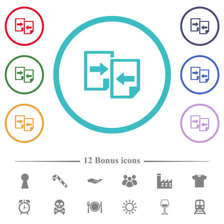 Share documents flat color icons in circle shape outlines. 12 bonus icons included.