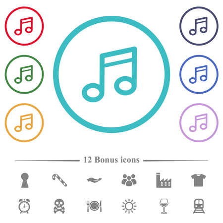 Music note flat color icons in circle shape outlines. 12 bonus icons included.
