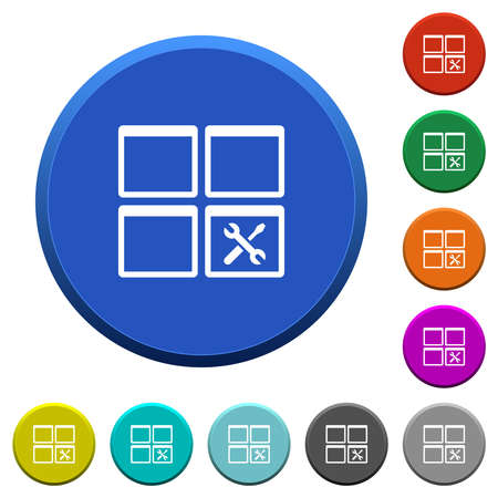 Dashboard tools round color beveled buttons with smooth surfaces and flat white icons