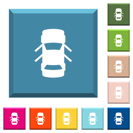 Car open doors dashboard indicator white icons on edged square buttons in various trendy colors