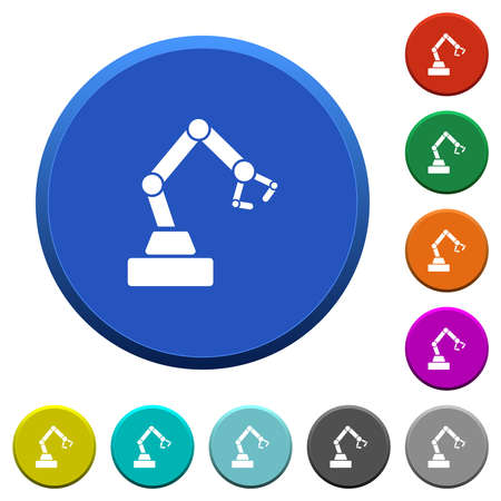 Robot arm round color beveled buttons with smooth surfaces and flat white icons