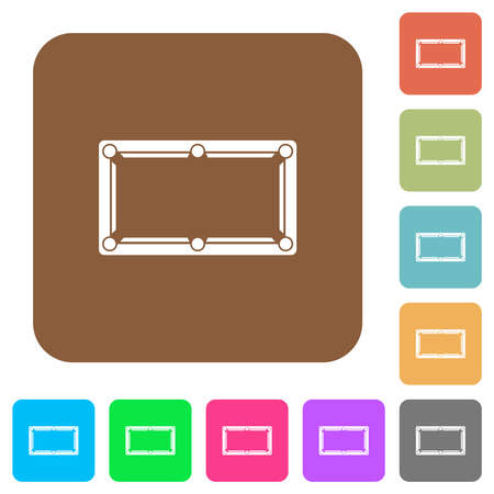 Empty billiard table flat icons on rounded square vivid color backgrounds. Çizim