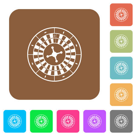 Roulette wheel flat icons on rounded square vivid color backgrounds.
