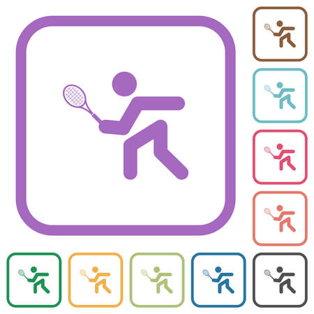 Tennis player simple icons in color rounded square frames on white background
