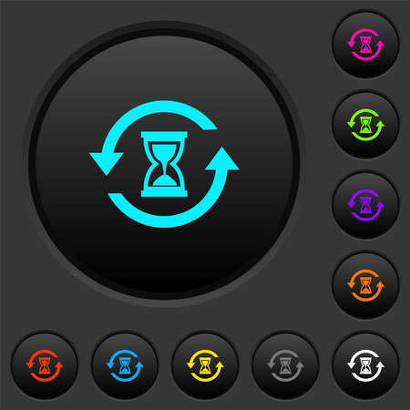 Reload symbol with sandglass dark push buttons with vivid color icons on dark gray background