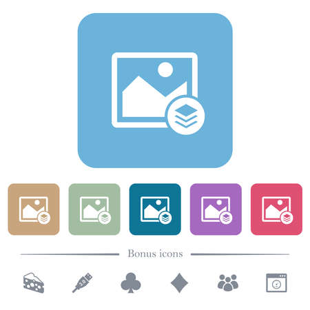 Image layers white flat icons on color rounded square backgrounds. 6 bonus icons included