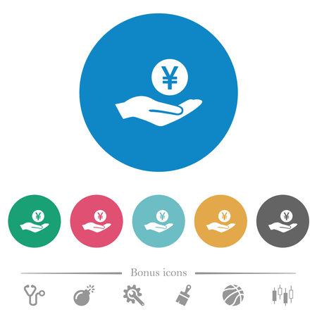 Yen earnings flat white icons on round color backgrounds. 6 bonus icons included. Ilustracja