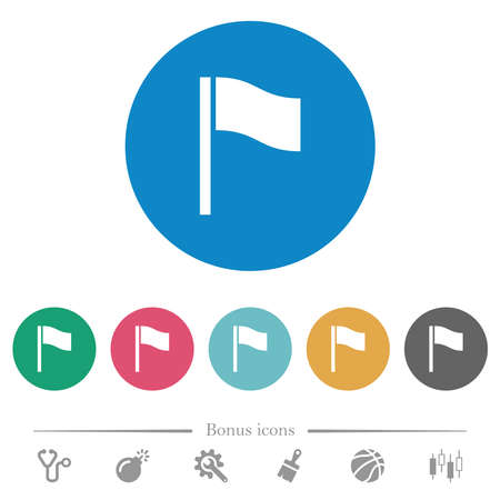 Flag flat white icons on round color backgrounds. 6 bonus icons included.