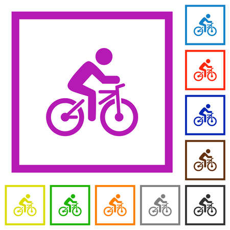 Bicycle with rider flat color icons in square frames on white background