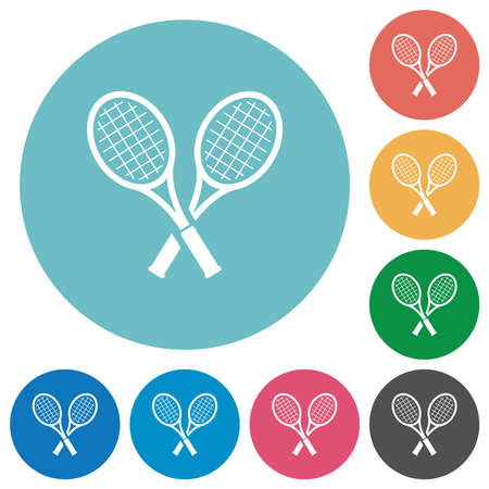 Two tennis rackets flat white icons on round color backgrounds
