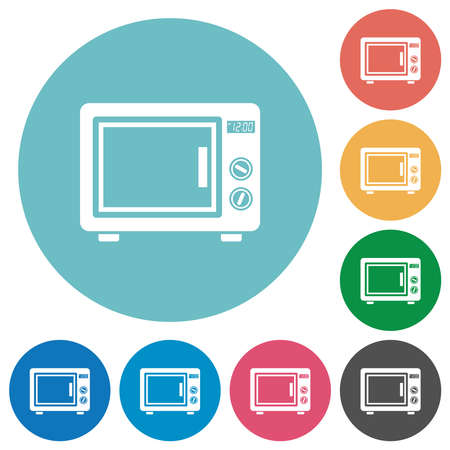 Microwave oven flat white icons on round color backgrounds