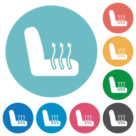 Car seat heating flat white icons on round color backgrounds
