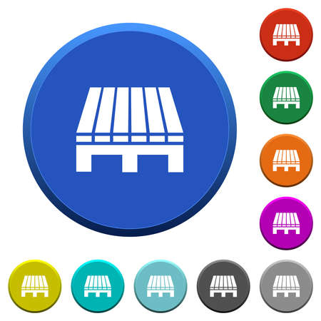 Single pallet round color beveled buttons with smooth surfaces and flat white icons