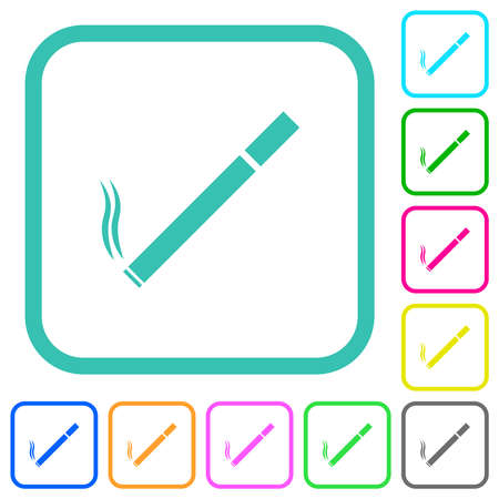 Cigarette vivid colored flat icons in curved borders on white background Vecteurs