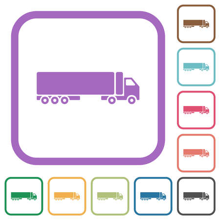 Camion simple icons in color rounded square frames on white background