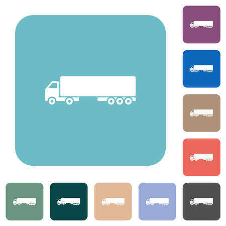 Camion white flat icons on color rounded square backgrounds