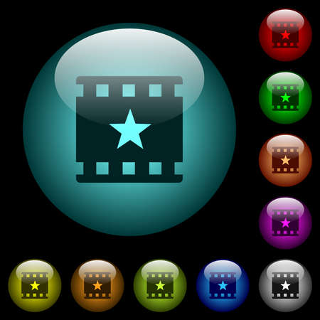 Mark movie icons in color illuminated spherical glass buttons on black background. Can be used to black or dark templates