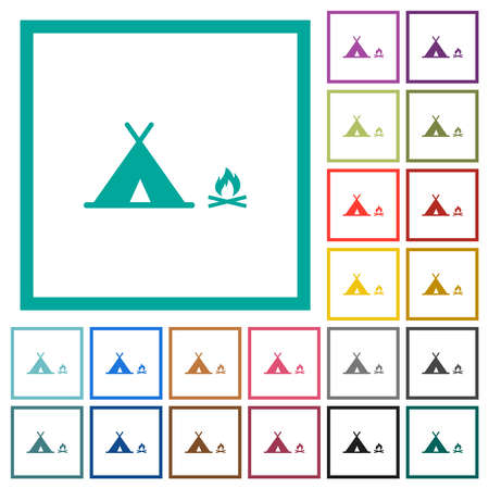 Camping flat color icons with quadrant frames on white background