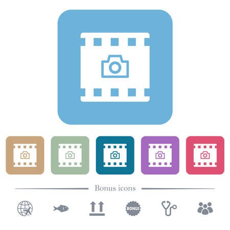 Grab image from movie white flat icons on color rounded square backgrounds. 6 bonus icons included 向量圖像