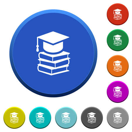 Graduation cap with three books round color beveled buttons with smooth surfaces and flat white icons