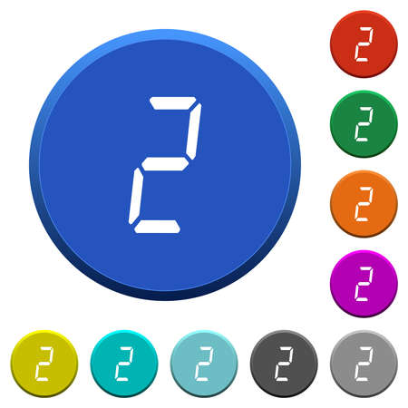 digital number two of seven segment type round color beveled buttons with smooth surfaces and flat white icons