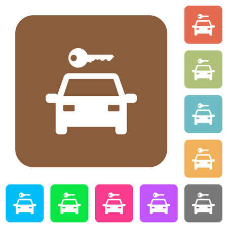 Car rental flat icons on rounded square vivid color backgrounds.