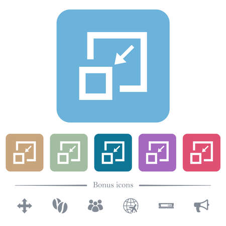 Shrink window white flat icons on color rounded square backgrounds. 6 bonus icons included