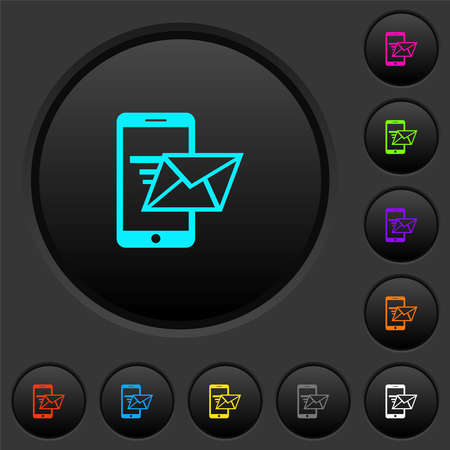Sending email from mobile phone dark push buttons with vivid color icons on dark gray background