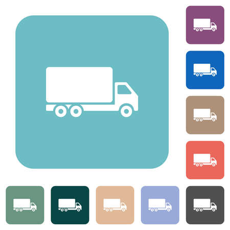 Freight car white flat icons on color rounded square backgrounds