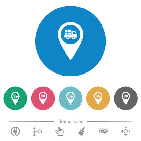 Transport service GPS map location flat white icons on round color backgrounds. 6 bonus icons included.