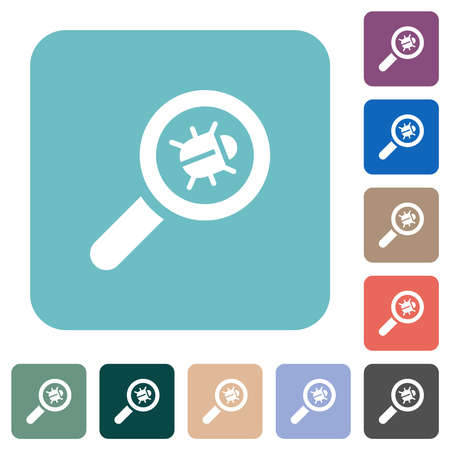 Bug tracking white flat icons on color rounded square backgrounds