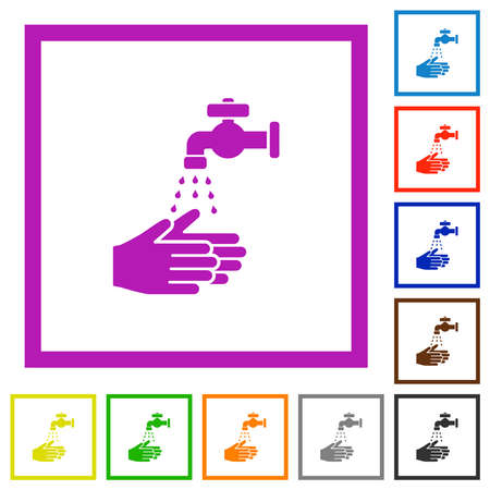 Hand washing flat color icons in square frames on white background 矢量图像