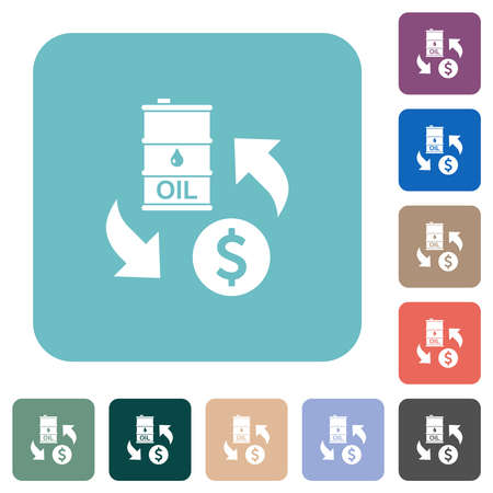 Oil Dollar exchange white flat icons on color rounded square backgrounds 矢量图像