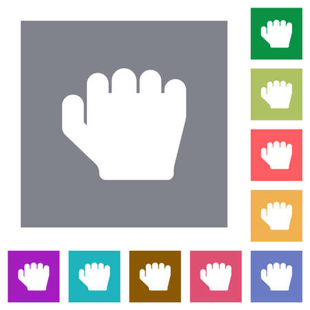 Right handed grab gesture flat icons on simple color square backgrounds