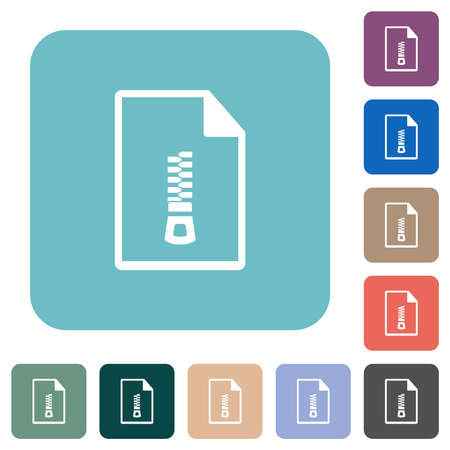 Compressed document white flat icons on color rounded square backgrounds 矢量图像