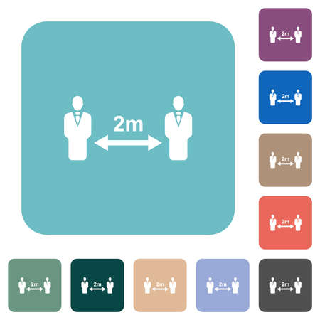 Social distancing 2 meters white flat icons on color rounded square backgrounds