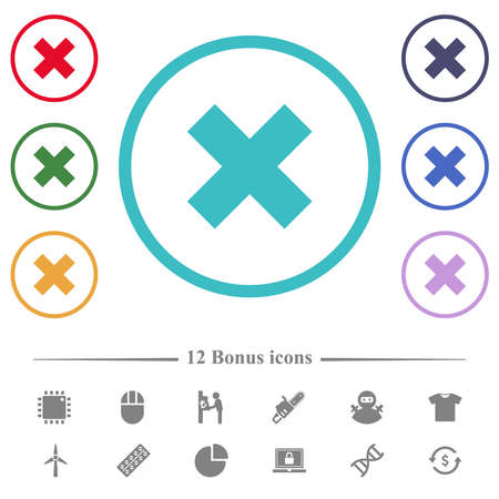 Cancel flat color icons in circle shape outlines. 12 bonus icons included.