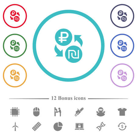 Ruble Shekel money exchange flat color icons in circle shape outlines. 12 bonus icons included. 矢量图像