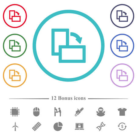 Rotate right flat color icons in circle shape outlines. 12 bonus icons included. 矢量图像