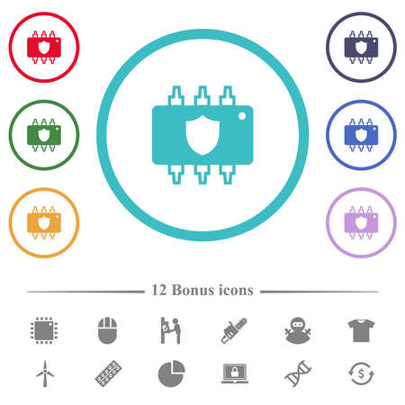 Hardware protection flat color icons in circle shape outlines. 12 bonus icons included. 矢量图像