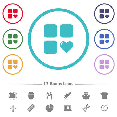 Favorite component flat color icons in circle shape outlines. 12 bonus icons included. 矢量图像