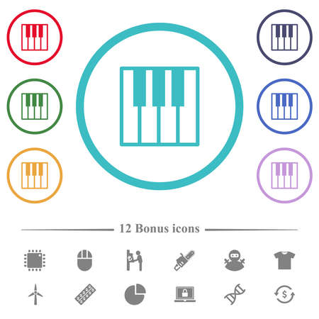 Piano keyboard flat color icons in circle shape outlines. 12 bonus icons included. 矢量图像