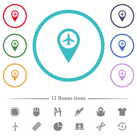 Airport GPS map location flat color icons in circle shape outlines. 12 bonus icons included.