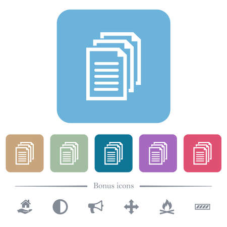 Multiple documents white flat icons on color rounded square backgrounds. 6 bonus icons included