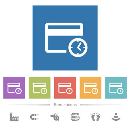 Credit card transaction history flat white icons in square backgrounds. 6 bonus icons included.