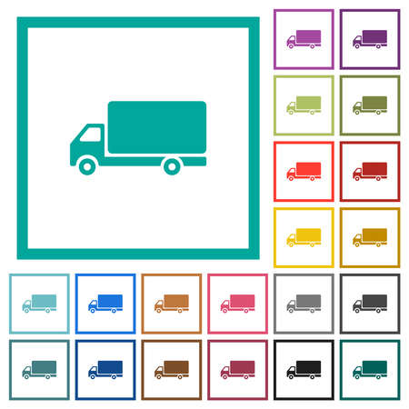 Freight car flat color icons with quadrant frames on white background