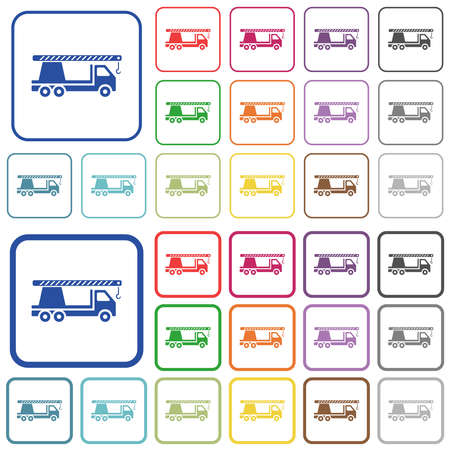 Crane truck color flat icons in rounded square frames. Thin and thick versions included. Illustration