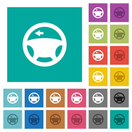 Car turn left signal dashboard light multi colored flat icons on plain square backgrounds. Included white and darker icon variations for hover or active effects.